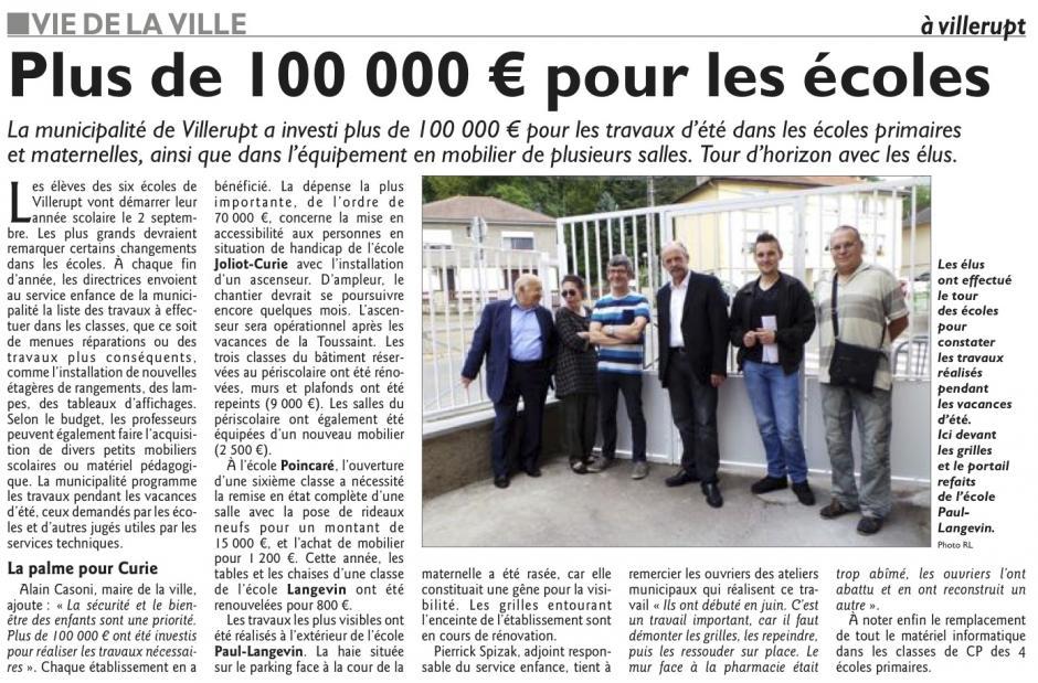 Plus de 100 000€ pour les écoles